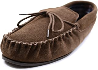 Mens brown suede moccasin/Slippers Rubber Sole.