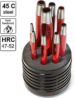S&R Hålstans järnuppsättning, rund/tillverkad i Tyskland/9 st. Stansjärn Verktyg 2-10 mm; speciellt oljat