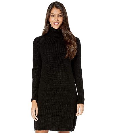 kensie Soft Fuzzy Knit Long Sleeve Sweater Dress KSDK8386 (Black) Women