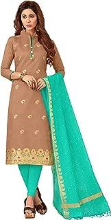 Maroosh Women'S Silk Fabric Brown Color Chudidar Free Size Dress Material
