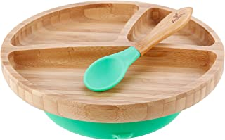 "Avanchy - Toddler Feeding Plate and Spoon Set, Divided Bamboo Plate with Stay Put Suction Ring, 8.5"" × 7.5"" × 2.5"" Plate Size - Green"