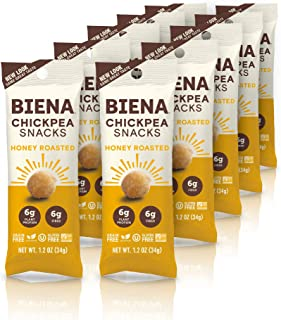 BIENA Chickpea Snacks, Honey Roasted Gluten Free Dairy Free Vegetarian Plant-Based Protein (10 Count Snack Pack) (Packaging May Vary)