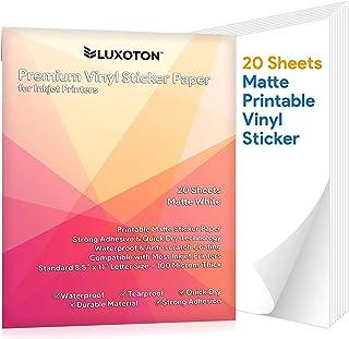 Premium Printable Vinyl Sticker Paper - 20 Matte White Waterproof Decal Paper Sheets for Inkjet Printer Self-Adhesive Labe...
