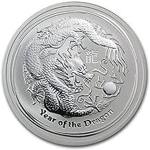 2012 AU Australia 2 oz Silver Year of the Dragon BU Silver Brilliant Uncirculated