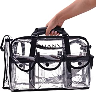 (Round Bag, Large) - SHANY Cosmetics Clear Makeup Bag, Pro Mua Round Bag with Shoulder Strap, Large