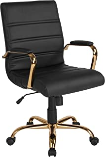 Flash Furniture Mid-Back Black Leather Executive Swivel Office Chair with Gold Frame and Arms