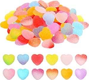 Ferreve 120 Pieces Heart-Shape Candy Slime Charms Jelly Sugar Resin Slime Charms Colorful Candy Flatback Slime Charms Fake Mini Candy Model Slime Charms for DIY Craft Accessories Scrapbooking Decor