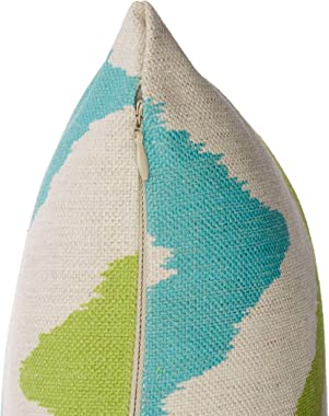 """Christopher Knight Home 305531 Zora Outdoor 18"""" Water Resistant Square Pillows (Set of 4), Teal/Green Chevron"""