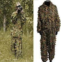 OUTERDO Camo Suits Ghillie Suits 3D Leaves Woodland Camouflage Clothing Army Sniper Military Clothes and Pants for Jungle Hunting, Shooting, Airsoft, Wildlife Photography, Halloween
