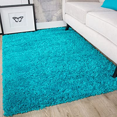 The Rug House Savanna Teal Blue Modern Soft Thick Deep Non Shed Polypropylene Fluffy Shaggy Rugs