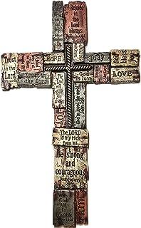 آيات الكتاب المقدس على مكعبات خشب الراتنج تشبه الخشب الصليب 17 بوصة كلمات مسيحية ومقولة صليب حائط ديكور منزلي، الأمل، القو...