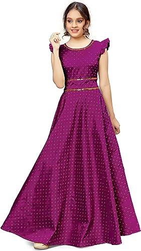 Fashion Dream Girl's Jacquard High-Waist Pleated Cap Sleeve Ball Gown Maxi Dress
