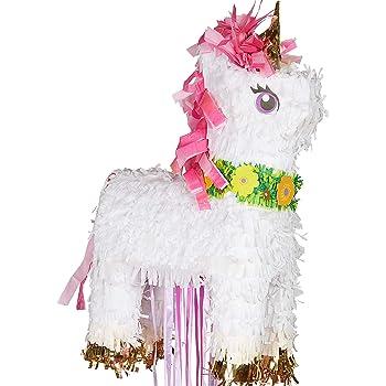 amscan 10130125 Magical Unicorn Deluxe Pull Pinata 32cm x 46cm - 1 Pc, Multicoloured
