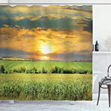Ambesonne Farm House Decor Collection, Corn Field and Sunrise on Summer Sky Natural Paradise Pasture Mourning View Picture, Polyester Fabric Bathroom Shower Curtain Set with Hooks, Yellow Green