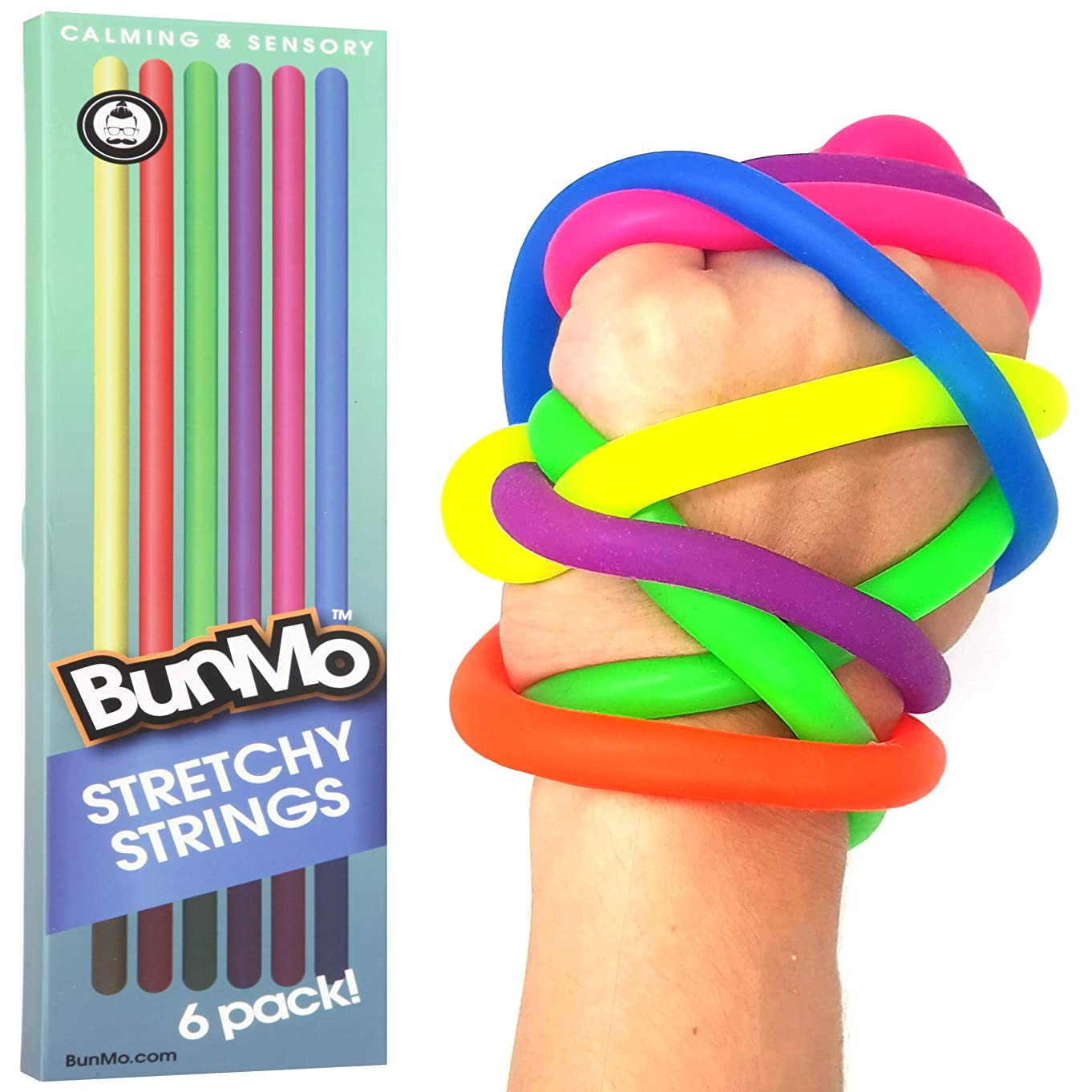 BUNMO Stress Relief Toys for Special Needs Children - Stretchy Sensory Toys for Autistic Children / ADHD / Fidgets & Anxiety Toys for Adults - 6 Pack
