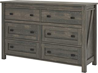Ameriwood Home Farmington, 6 Drawer Dresser, Weathered Oak