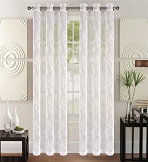 CC&DD HOME FASHION Grommet Knitting Sheer Lace Curtains,2-Panel Set,Each for 52