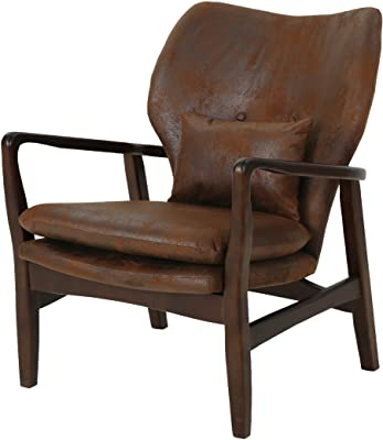 Christopher Knight Home Haddie Mid Century Modern Fabric Club Chair, Brown and Dark Espresso