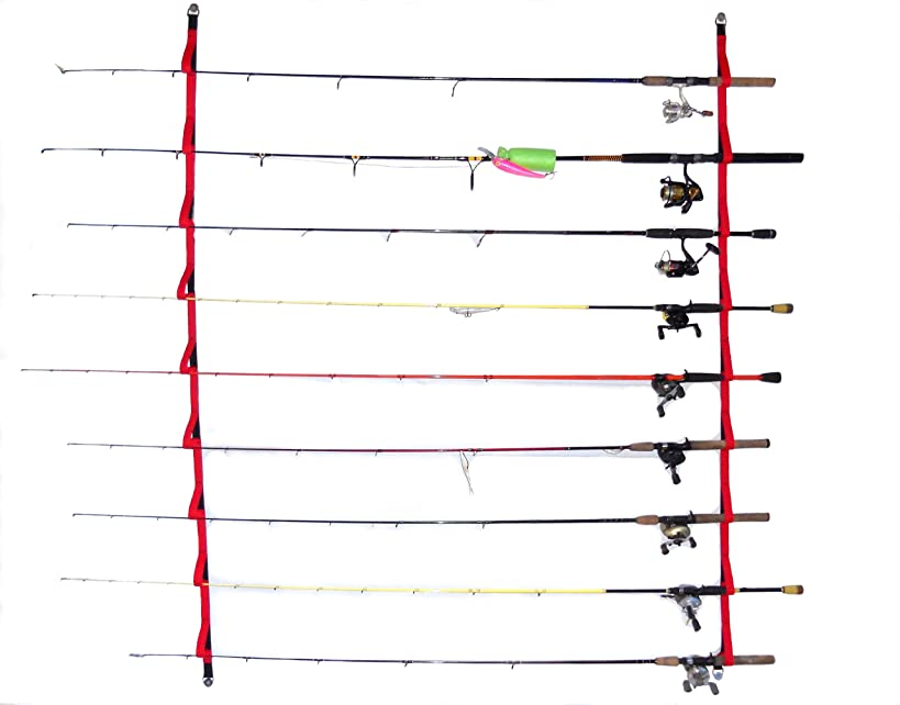 """Overhead or Wall Fishing Rod Rack, Rod Storage System suspends your rods in soft webbing loops protecting your equipment's finish. The 72""""version has 9 positions 46""""has 6. Hardware included"""
