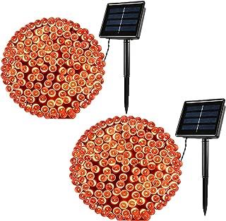 Lomotech 200LED Orange Halloween Lights, 72ft 8 Modes Orange Solar String Lights, Waterproof Solar Fairy Lights for Hallow...