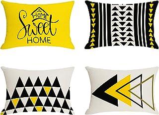 Jartinle Lumbar Pillow Covers 12x20 Set of 4, Mustard Yellow Black Outdoor Decorative Rectangle Throw Pillow Covers Linen,...