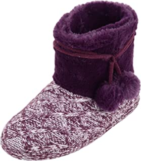 ABSOLUTE FOOTWEAR Womens Slip On Slipper Bootee/Booties with Pom Pom Design