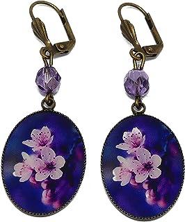 Orecchini sakura resina ciliegio fiore di ciliegio Giappone viola rosa ottone bronzo perline personalizzate regali di Nata...