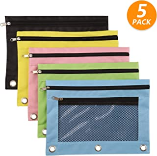3 Ring Pencil Pouch, 5 Pack Binder Pencil Pouches with Double Pockets Zipper Pencil Case with Clear and Mesh Window for Office Supplies (5 Pieces,5 Colors)