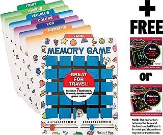 Melissa & Doug Travel Memory Game & 1 Scratch Art Mini-Pad Bundle (02090)