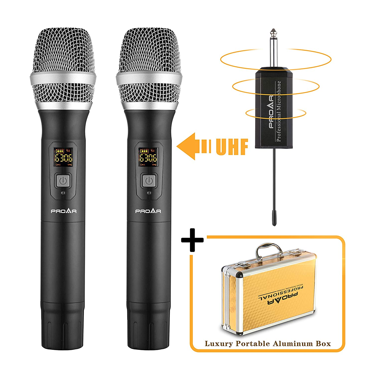 PROAR Professional Handheld Wireless Microphone System Set With Portable Receiver (Dual, Black)