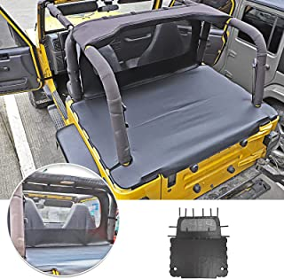 SQQP Leather Rear Cargo Cover Trunk Tonneau Cover for 1997-2006 Jeep Wrangler(Black)