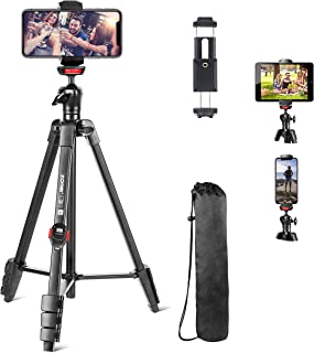 """Cell Phone Tripod, 54"""" Flexible Tripod Stand for iPhone and Android Cellphone & Camera with Bluetooth Wireless Remote,Cell..."""