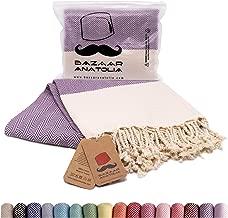 Bazaar Anatolia Herringbone Turkish Towel 100% Cotton Peshtemal Bath Towel 77x38 Thin Lightweight Travel Camping Bath Sauna Beach Gym Pool Blanket Fouta Quick Dry Towels (Purple) …