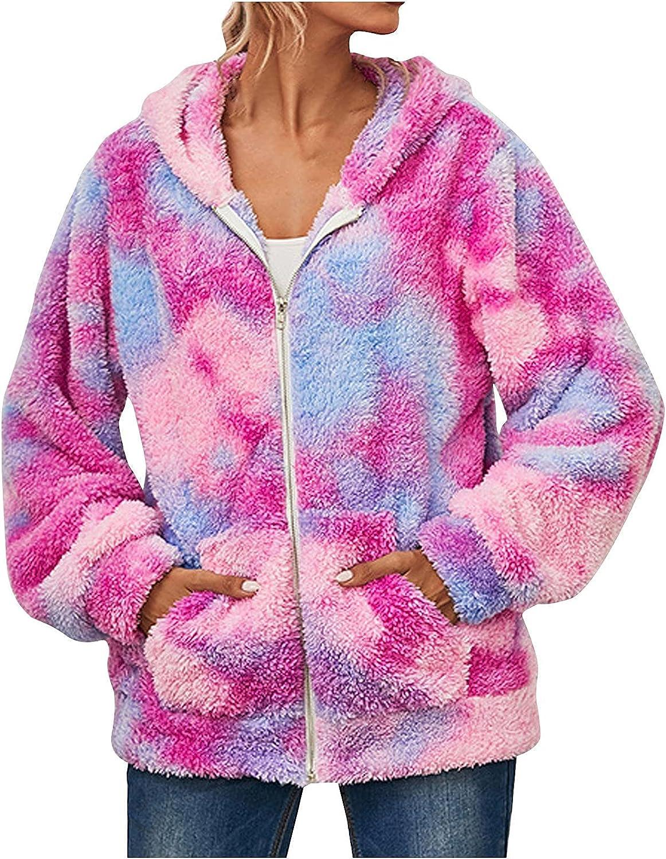 Women's Faux Fur Fuzzy Coat Tie-dye Printed Hooded Overcoat Winter Warm Cropped Cardigan with Pockets Jacket