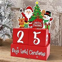 A FLAIGO Christmas Countdown Wooden Blocks Desktop Christmas Advent Calendars with Cute Santa Claus Elf Shaped Design for Xmas Holiday Tabletop Decoration
