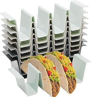 Youngever 8 Pack Plastic Taco Holder Stand, Dishwasher Top Rack Safe, Microwave Safe, Set of 8 Assorted Colors (Urban)