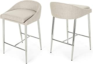 Christopher Knight Home 307500 Fanny Counter Stools, Modern, Upholstered, Chrome Iron Legs, Beige (Set of 2)