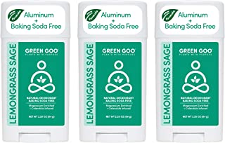 Green Goo Natural Deodorant for Men and Women, Lemongrass and Sage, 2.2 Ounce, Pack of 3 (Packaging May Vary)