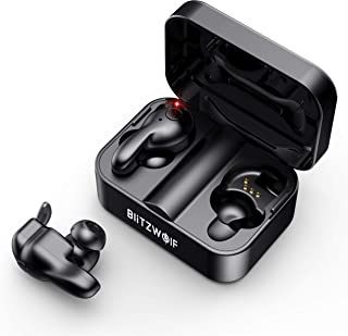 Wireless Earbuds, BlitzWolf True Wireless Stereo Bluetooth 5.0 Earbuds, Easy-Pair 3D Stereo Sound Bluetooth Headphone with Comfortable Wearing, Portable Charging Case and Built-in Microphone