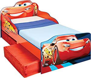 Hello Home Disney Cars Kids Toddler Bed with underbed Storage, Wood, Red, 143x77x63 cm
