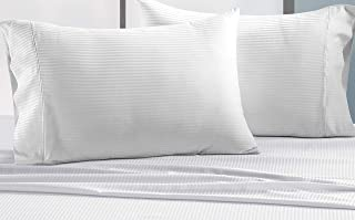 CHATEAU HOME COLLECTION Luxury Combed Cotton 500 Thread Count Executive Stripe Set of 2 King Pillowcases - White