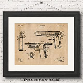 Original Colt 1911 Gun Patent Poster Prints, Set of 1 (11x14) Unframed Photo, Wall Art Decor Gifts Under 15 for Home, Office, Man Cave, Garage, Cowboys, College Student, Teacher, NRA & Movies Fan