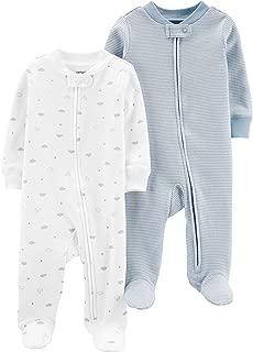 Baby Boys Footed Sleeper Cotton Sleep and Play Pajama with Zipper, Set of 2