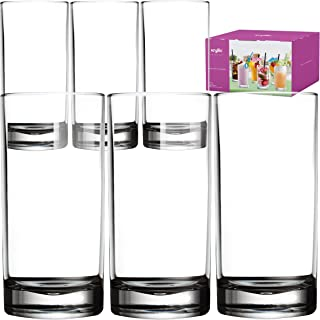 Plastic Tumbler Cups Drinking Glasses - Acrylic Highball Tumblers Set of 6 Clear 16 oz Unbreakable Reusable Kitchen Drinkware Dishwasher Safe Bpa Free Hard Rocks Glass Drink Cup