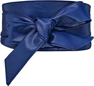 Woman Leatherette Cinch Belt Vintage Wide Waistband Obi Belt Cityelf Faux Leather Wrap Belt Self Tie Cummerbund