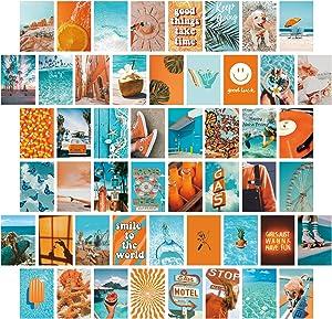 Wall Collage Kit Aesthetic Pictures ,Room Decor for Teen Girls Aesthetic,50 Set 4x6 Inch,VSCO Orange Blue Photo Wall Collage Kit for Bedroom Decor