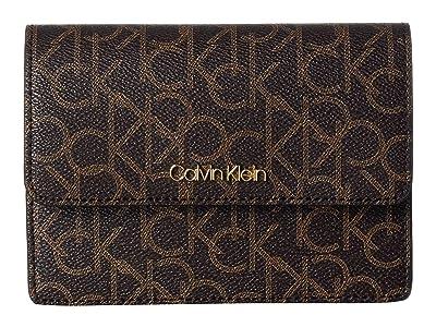 Calvin Klein Hayden Signature Crossbody (Brown/Khaki/Luggage Saffiano) Cross Body Handbags