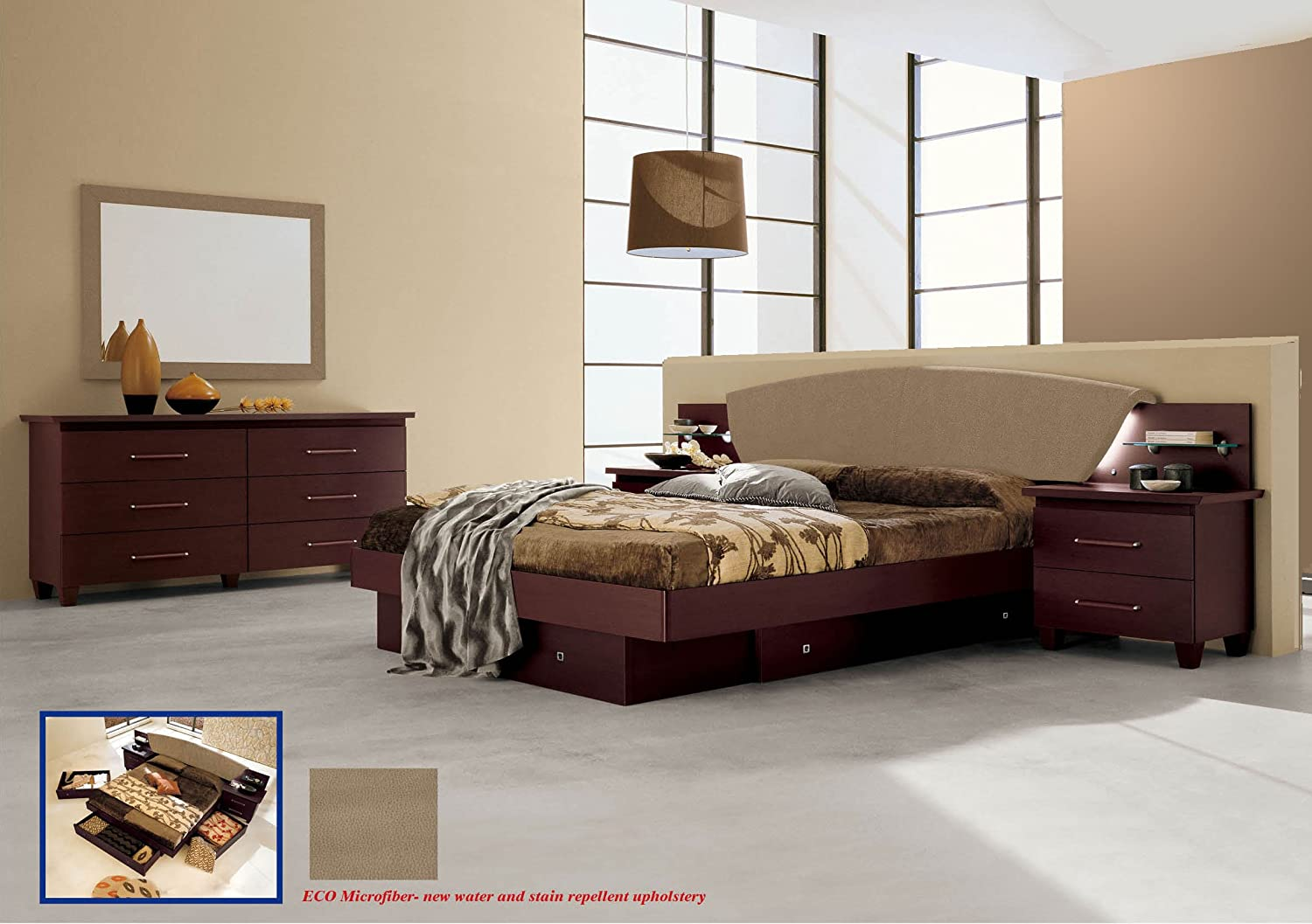 Italian Modern Contemporary Bedroom Set King Size Miss Italia by