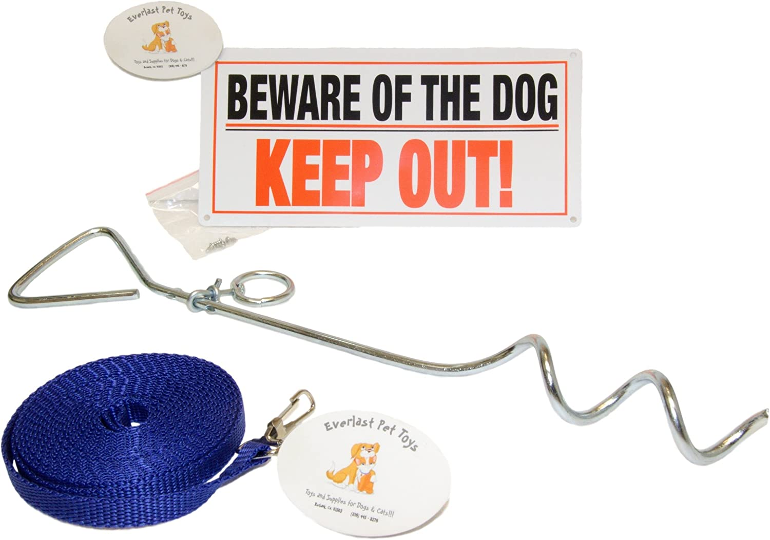 EMG Pet Emporium Best TieOut Bundle for Small to Medium Dogs   15  Metal Tie Out Stake   14' Leash   Guaranteed   'Beware of The Dog' Sign All Breeds  All Ages