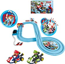 Carrera First Nintendo Mario Kart Slot Car Race Track - Includes 2 Cars: Mario and Luigi and Two-Controllers - Battery-Pow...